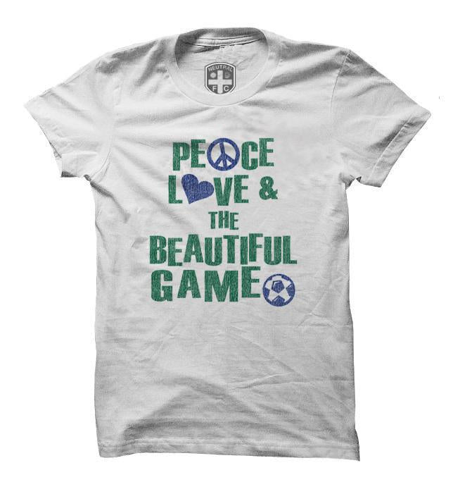 Peace Love & The Beautiful Game T-Shirt in White by Neutral FC