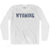 Wyoming State Stencil Adult Cotton Long Sleeve T-shirt by Ultras