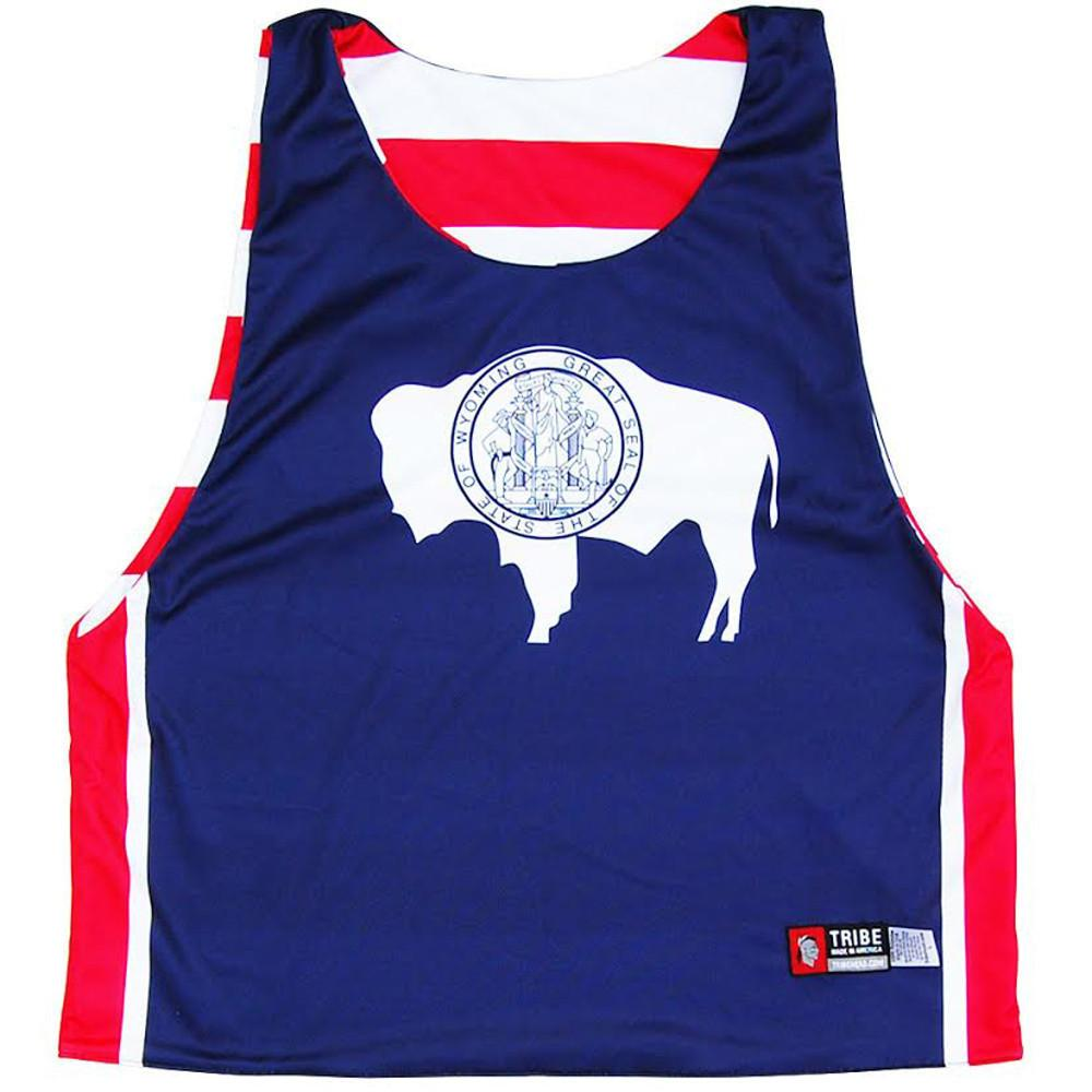 Wyoming Flag and American Flag Lacrosse Pinnie in Red / Navy by Tribe Lacrosse