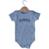 Zurich City Infant Onesie in Grey Heather by Mile End Sportswear