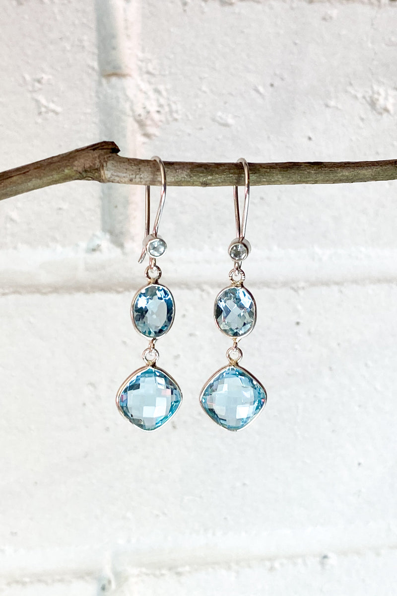 Blue Topaz 3 Stone and Silver Earrings