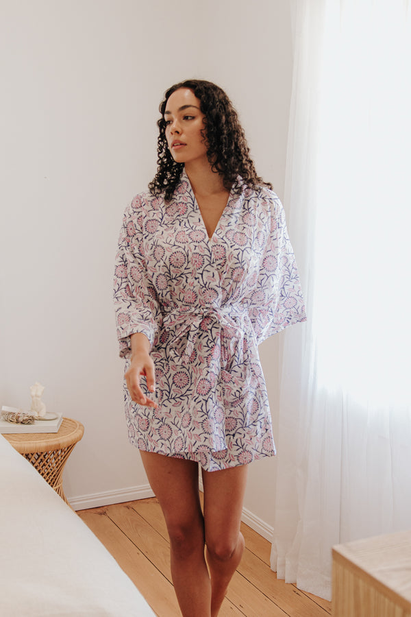 Cotton Short Robe- Cherry Blossom