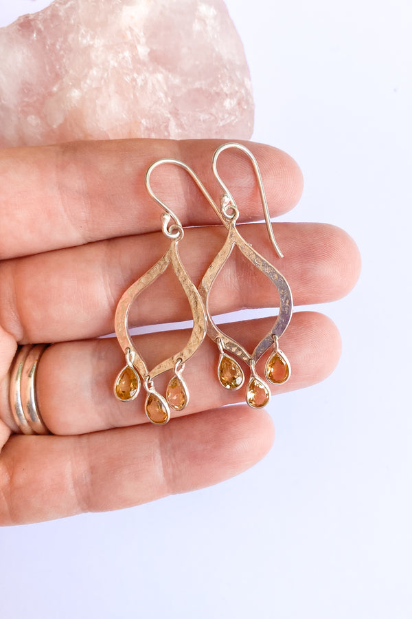 Taj Citrine and Silver Earrings