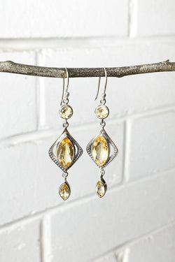 Bohemian Faceted Citrine and Silver Earrings