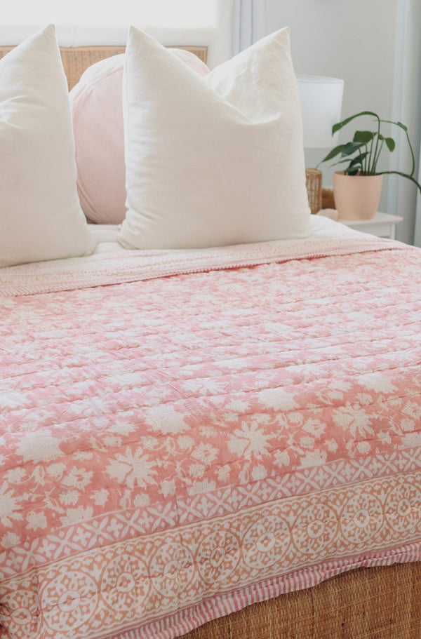 "Block Printed Padded Quilt ""Peach Blossom"" King/Queen"