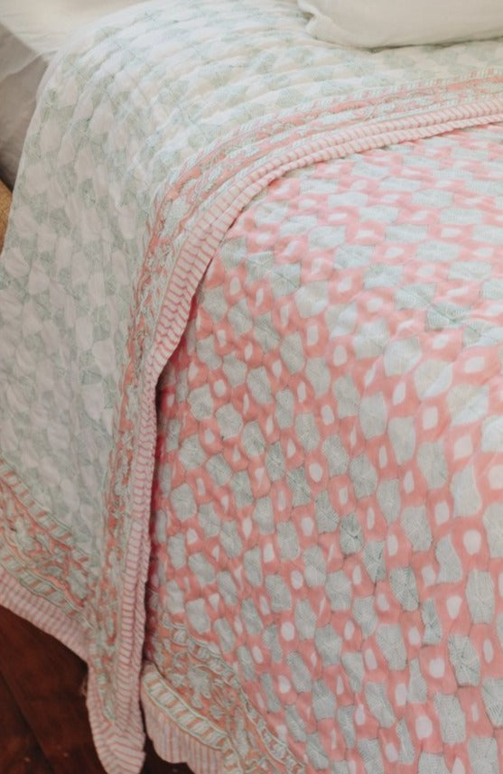"Block Printed Padded Quilt ""Coral Sea"" King/Queen"
