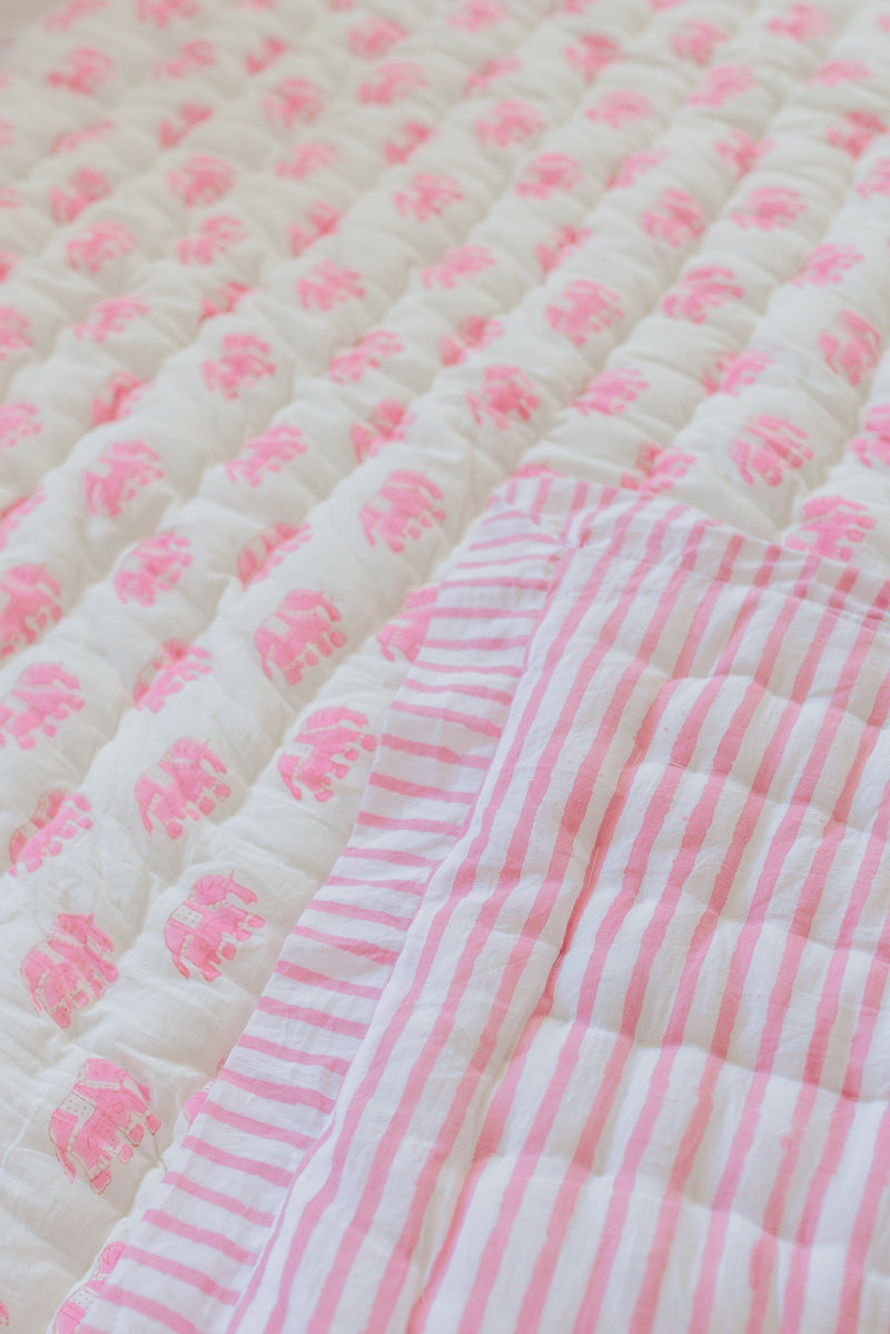 "Block Printed Padded Quilt ""Pink Elephant"" Throw/Child Size"