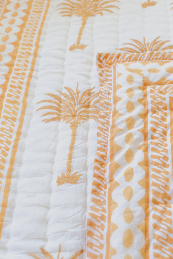 "Block Printed Padded Quilt ""Golden Palm"" Throw/Child Size"