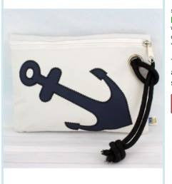 White Nylon Wristlet Pouch with Nautical Blue Anchor