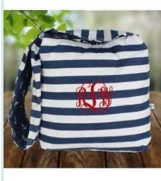 Hobo Bag - Reversible Nautical Stripes and anchor pattern