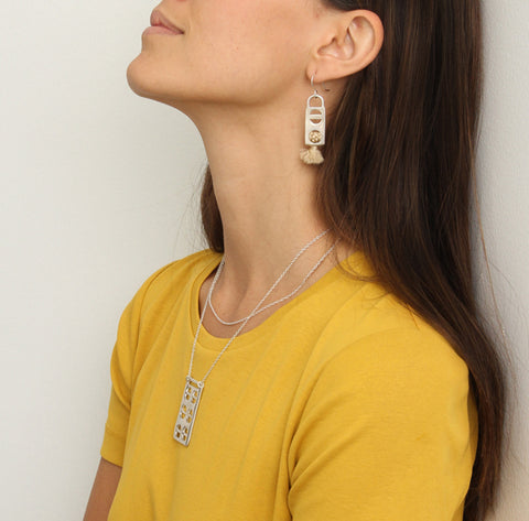 Erin Considine SS16 / Raw Plank Necklace / Tassel Earrings