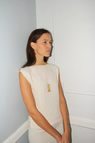 Erin Considine SS16 / 2x4 Plank Necklace Saffron Fine Silk / Arch Hoop Earrings