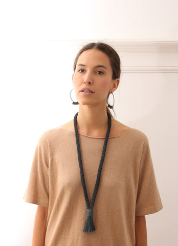 Erin Considine SS16 Lookbook Tassel Necklace / Ridge Hoops Oxidized Silver