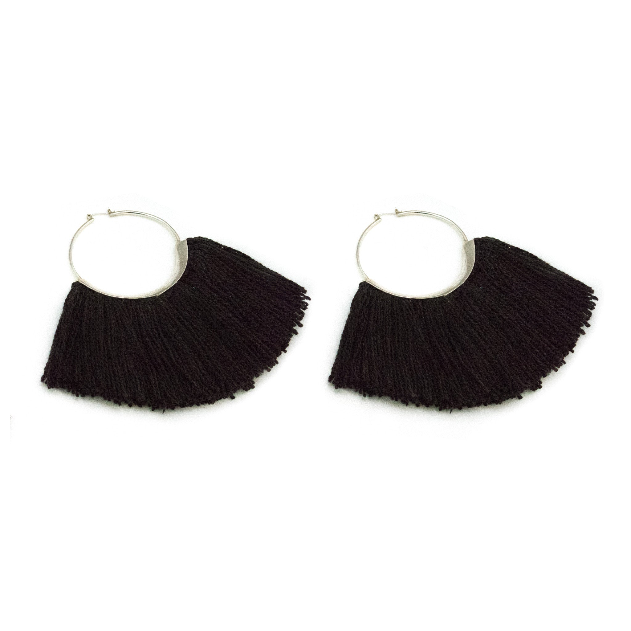 Ridge Fringe Hoops Logwood Black Fine Silk