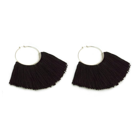 Ridge Fringe Hoops Logwood Black Silk