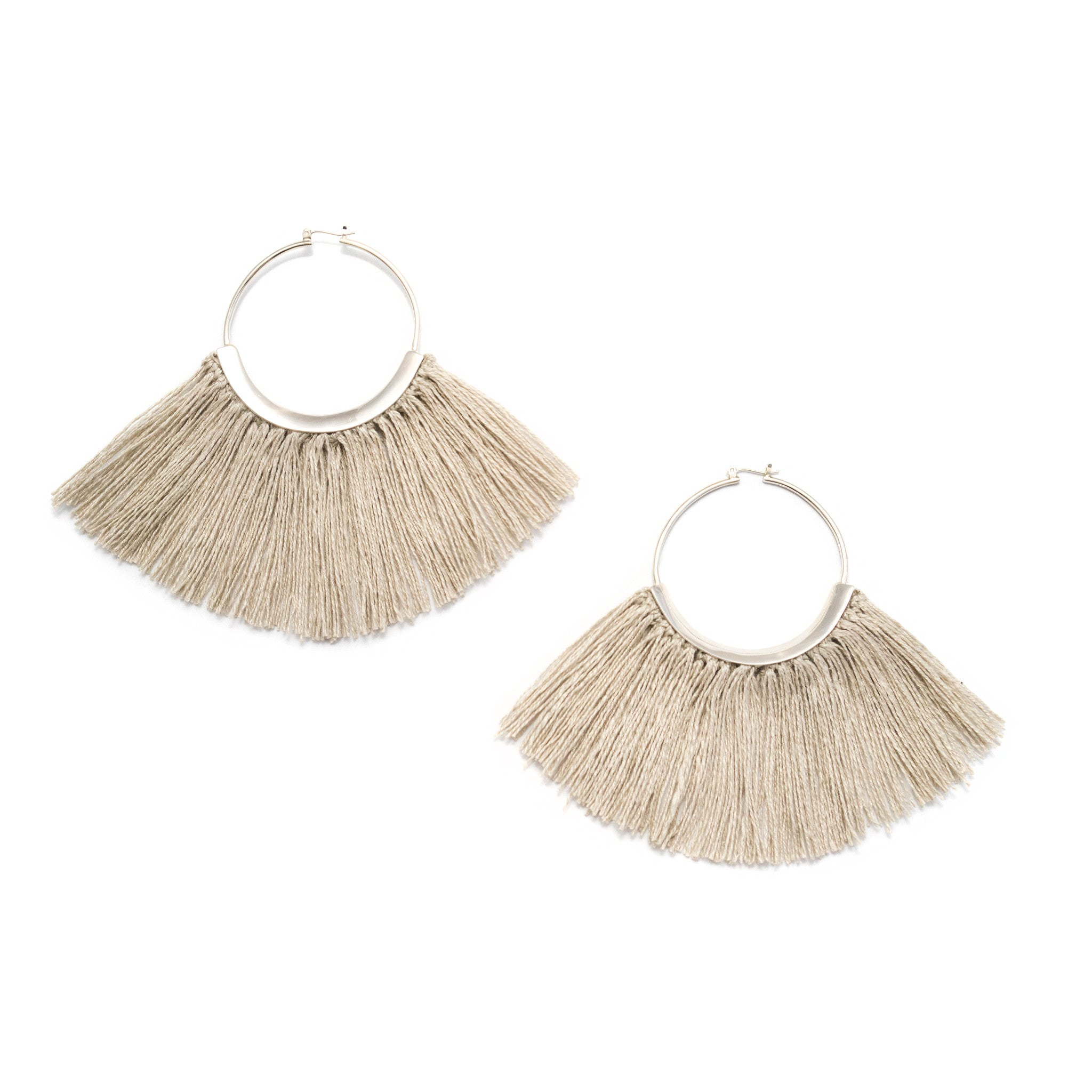 Ridge Fringe Hoops Raw Flax