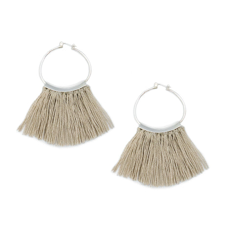Mini Fringe Hoops Raw Flax