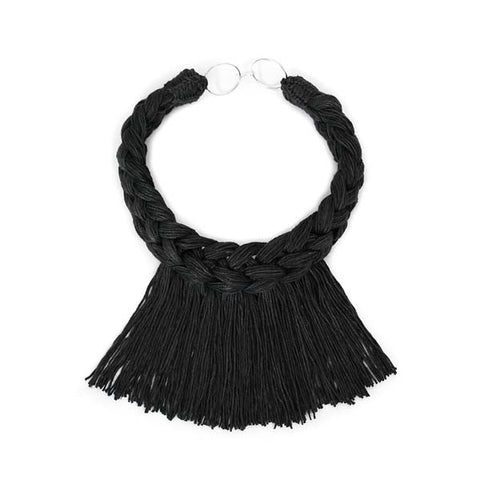 Traid Rope Necklace Solid Logwood Black Linen