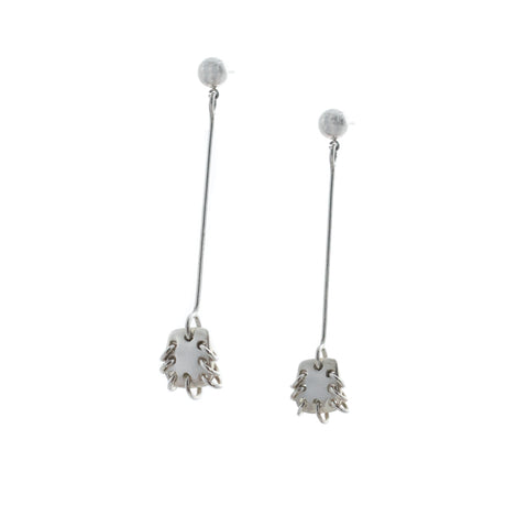 Paddle Drop Earrings Silver