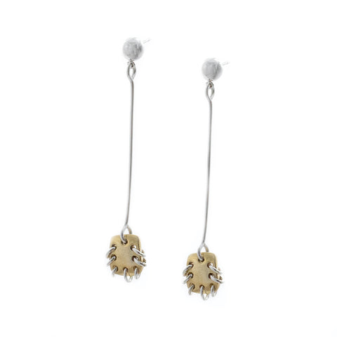 Paddle Drop Earrings Brass