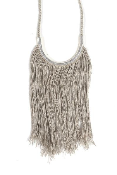 Lunate Fringe Natural Flax & Silver