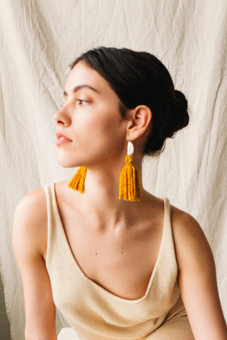 Medio Tassel Earrings Canary Silk Chenille