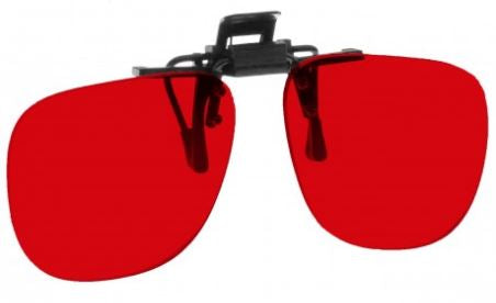 RED LENS EYEWEAR FRAME 17 SMALL OVAL FLIP UP CLIP ON SKU 1447243481185