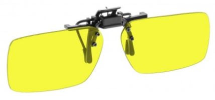 YELLOW LENS EYEWEAR FRAME 22 LARGE & SHORTEST RECTANGULAR FLIP UP CLIP ON SKU 1447272677473