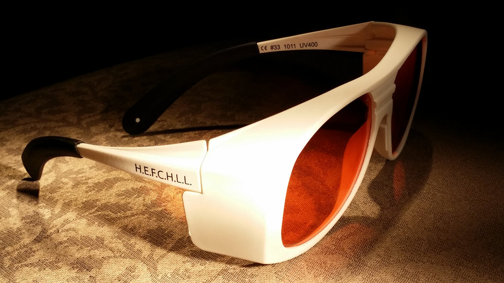 ORANGE LENS Dim Light Melatonin Onset Eyewear frame 33W WHITE Fit-Over Style MEDIUM or LARGE SKU 577689857