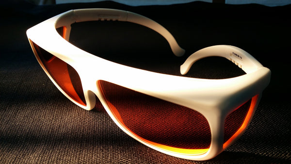 ORANGE LENS Melatonin Onset Eyewear frame 36W WHITE Fit-Over Style MEDIUM