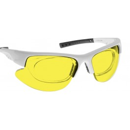 YELLOW LENS Dim Light Melatonin Onset Eyewear frame 34W WHITE Wrap Around Style with Prescription Insert MEDIUM/LARGE SKU 8281960327