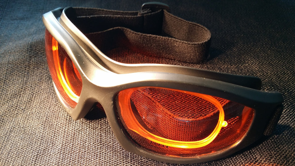 ORANGE LENS Dim Light Melatonin Onset Eyewear frame 50 BLACK Wrap Around Goggle with PRESCRIPTION INSERT SMALL-LARGE SKU 588971713