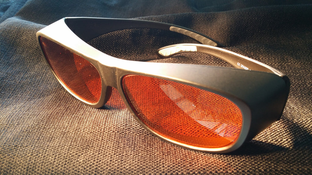 ORANGE LENS Dim Light Melatonin Onset Eyewear frame 53 BLACK Fit-Over Style LARGE SKU 577791745