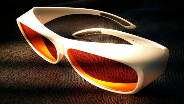 ORANGE LENS Melatonin Onset Eyewear frame 53W WHITE Fit-Over Style LARGE