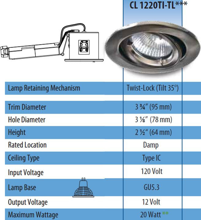 ROUND TILT-ABLE RECESSED FIXTURES with 1.75 inch aperture FOR MAGNETIC FACE MR16 BULB