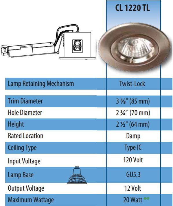 RECESSED CEILING LIGHT FIXTURE CL1220TL