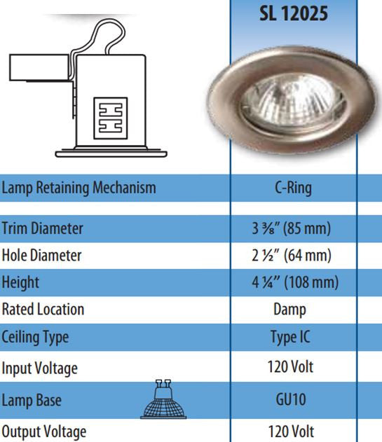 ROUND NON-TILT-ABLE RECESSED FIXTURES with 2 inch aperture FOR NONMAGNETIC FACE MR16 BULB