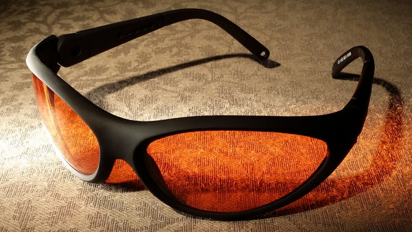 ORANGE LENS Melatonin Onset Eyewear frame 35 BLACK Wrap Around Style MEDIUM/LARGE