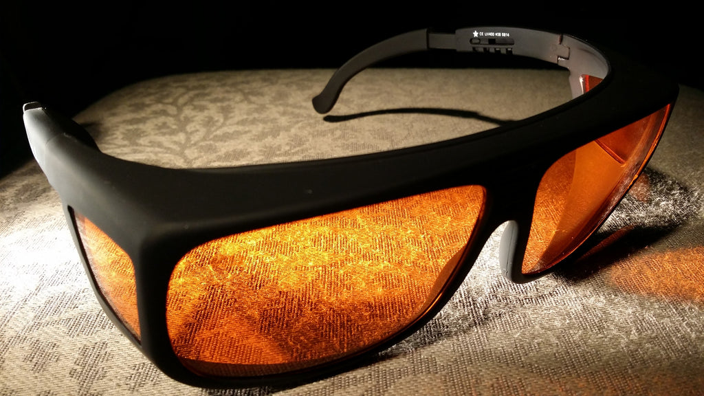 Orange Lens Dim Light Melatonin Onset Eyewear frame 38 Black Fit-Over Style Large SKU 577704257