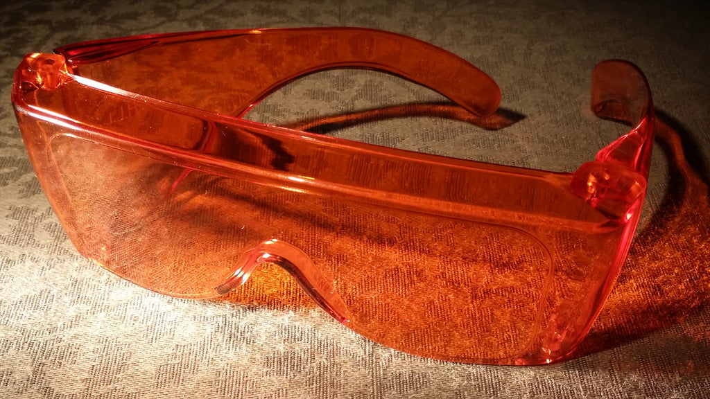 ORANGE LENS Dim Light Melatonin Onset Eyewear non-framed 900 Fit Over Style LARGE SKU 589796929