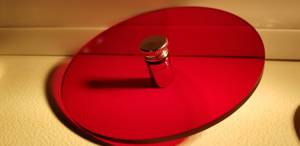 red bulb filters w 1 MAGNETIC FOOT HOLD in 2 & 4 inch CIRCLES or 4 inch OCTAGONS or SQUARES w OPTIONAL FINIAL