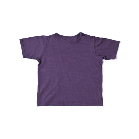Button Short Sleeve Tee Grape