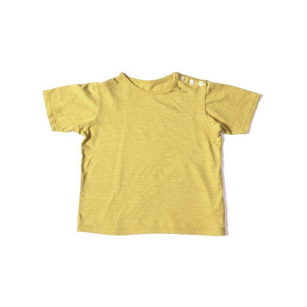 Button Short Sleeve Tee Mustard