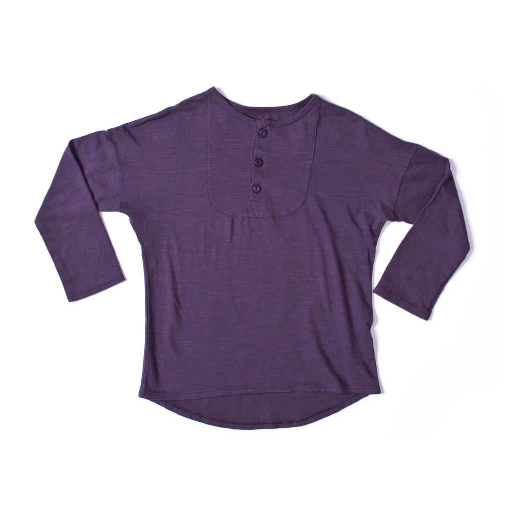 Long Sleeve Henley Grape