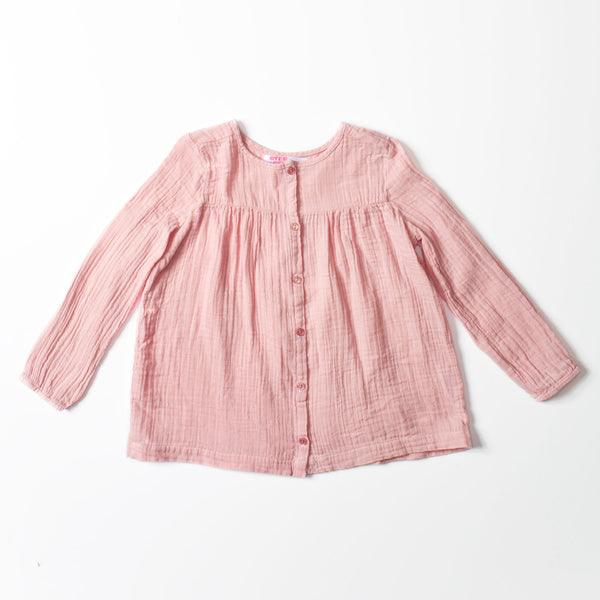 Button Blouse Tea Pink