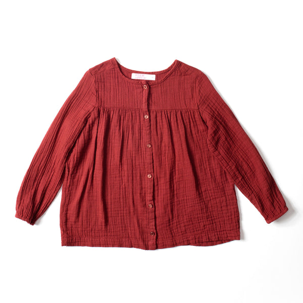Button Blouse Marsala