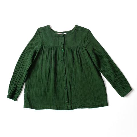 Button Blouse Deep Green