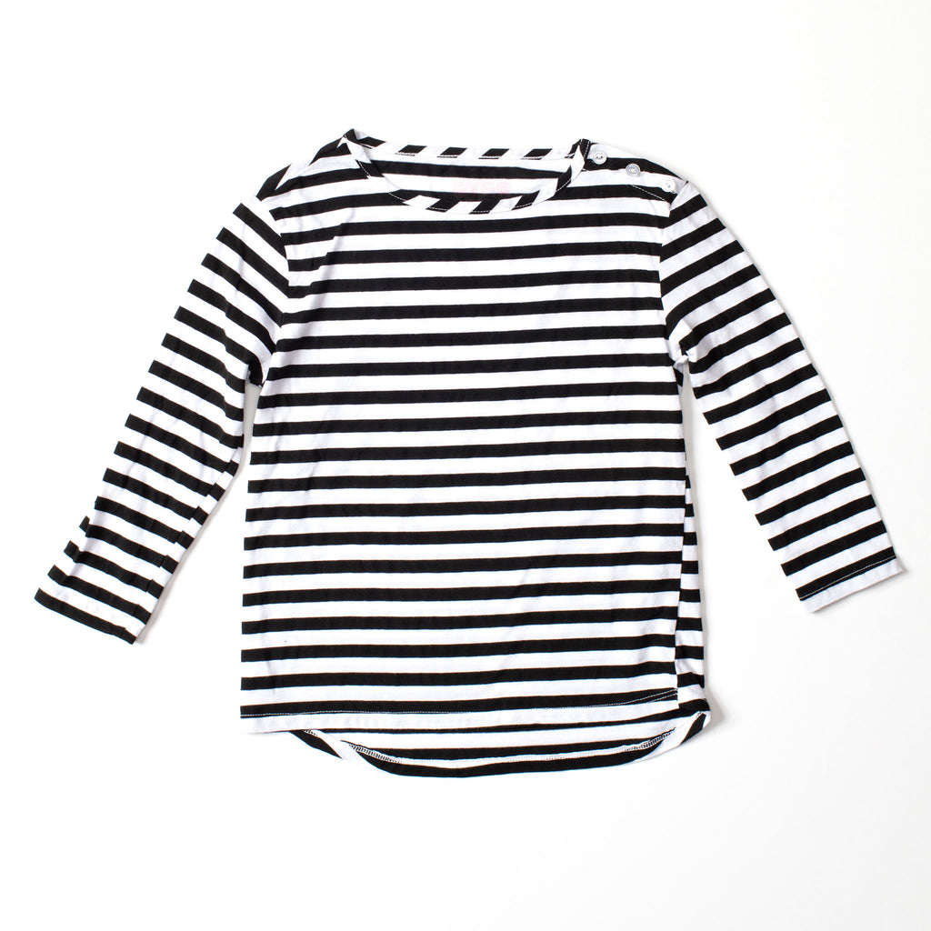 Long Sleeve Button Tee Black & White