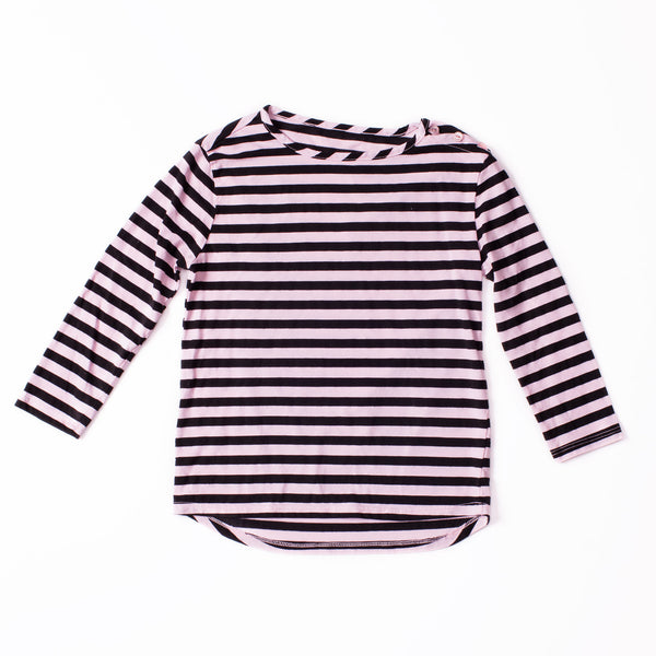 Long Sleeve Button Tee Black & Tea Pink
