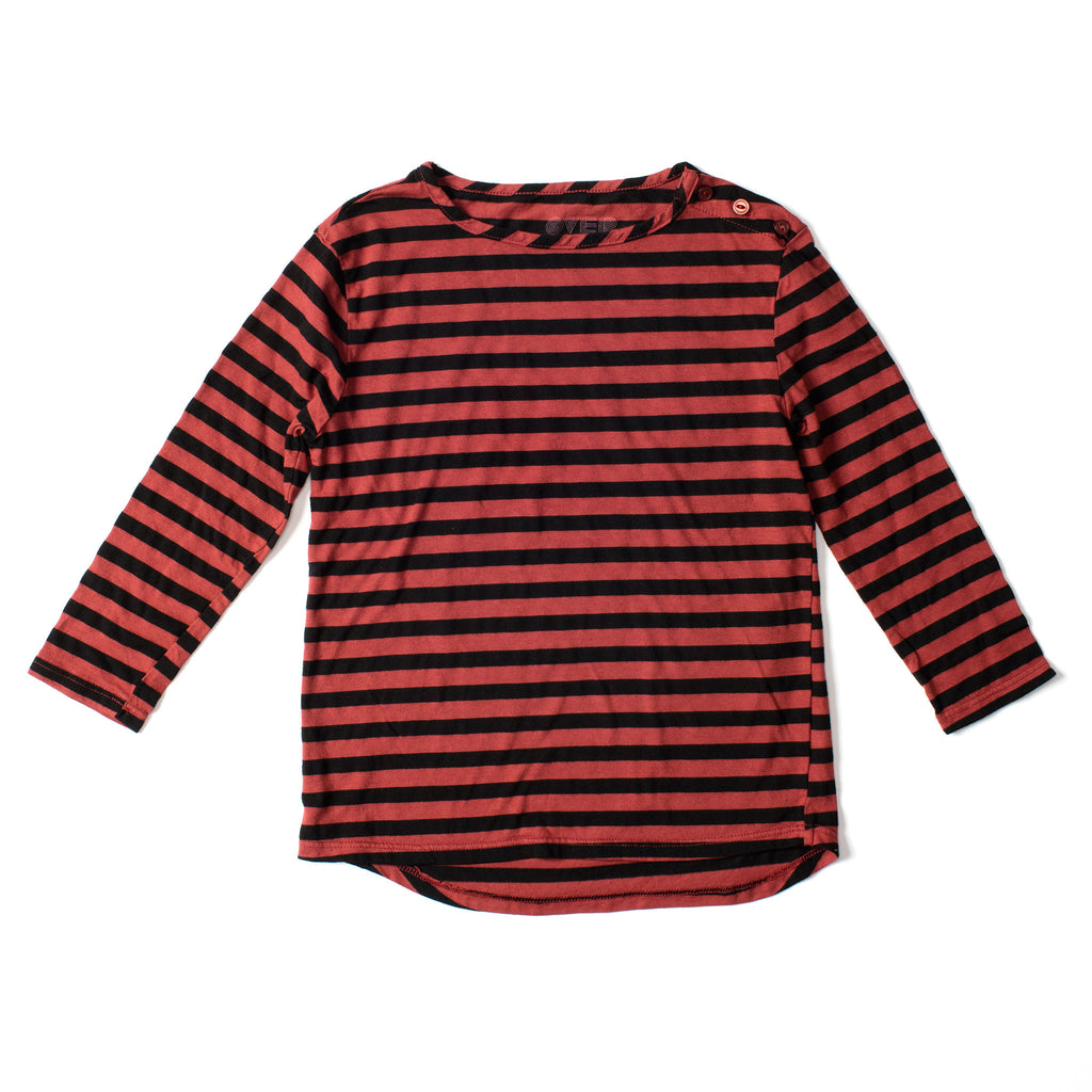 Long Sleeve Button Tee Black & Marsala